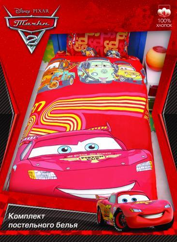 """Детское постельное белье полутороспальное """"Тачки красные"""" Дисней (Disney, садик) на резинке"""
