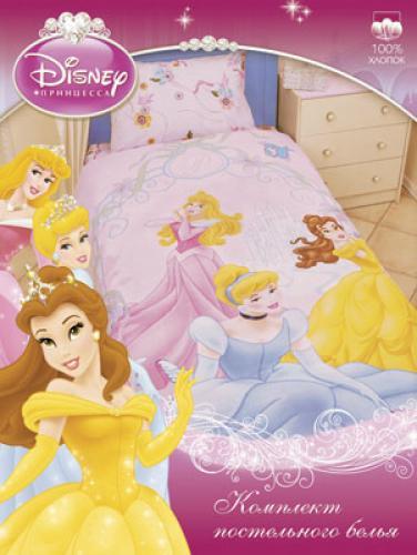 """Детское постельное белье полутороспальное """"Принцессы в арке"""" Дисней (Disney, садик) на резинке"""