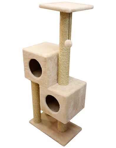 Игровой комплекс когтеточка Двойной домик с шариком на резинке (плюш и сизаль 127x55x31 см)