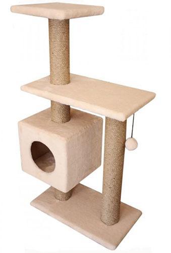 Игровой комплекс когтеточка Буран с шариком на резинке (плюш и джут 106x55x31 см)