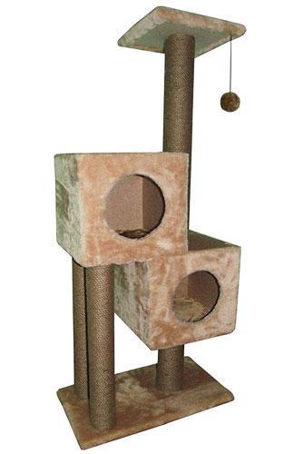 Игровой комплекс когтеточка Двойной домик с шариком на резинке (плюш и джут 127x55x31 см)