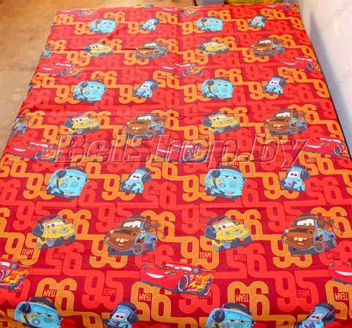 """Простыня на резинке """"Тачки красные"""" (Disney, садик) 90х200х25"""