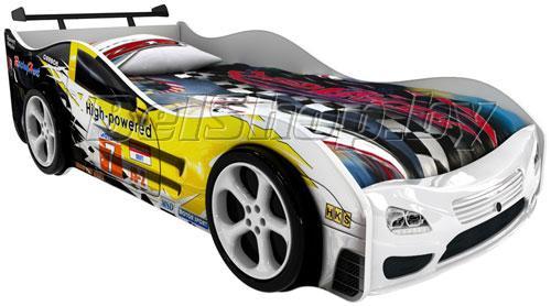 Детская кровать машина для ребенка Сигма Премиум 3D с 2 колесами и спойлером