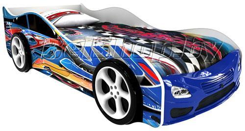 Детская кровать машина для ребенка Фаворит Эксклюзив с 2 колесами
