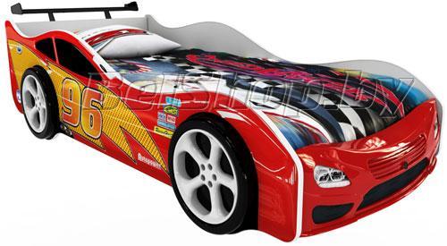 Детская кровать машина для ребенка Форсаж Премиум 3D красный с 2 колесами и спойлером