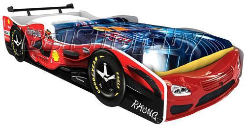 Детская кровать машина для ребенка Формула Премиум 3D красная со спойлером