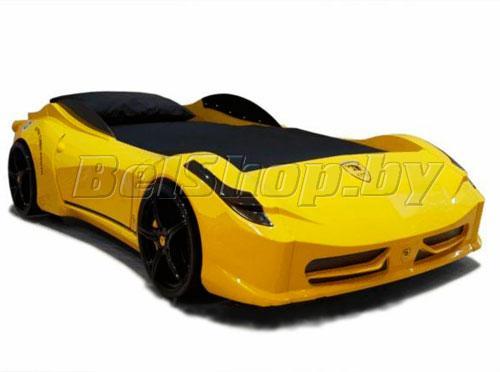 Детская кровать машина для ребенка F-1 желтая тачка
