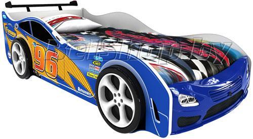 Детская кровать машина для ребенка Форсаж Престиж синий с 2 колесами и спойлером