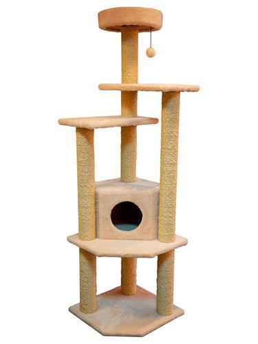Игровой комплекс когтеточка Торнадо с шариком на резинке (плюш и сизаль 180x50x50 см)