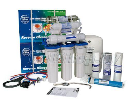 Семиступенчатая питьевая система обратного осмоса с минерализатором и  биокерамическим картриджем Aquafilter RX5411411X (фильтры для очистки воды АкваФильтр)