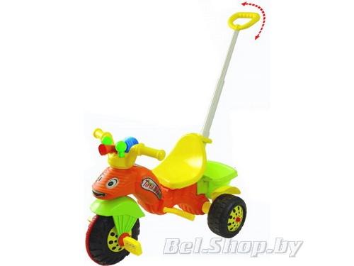 Детский велосипед трехколесный с ручкой Pilsan Caterpillar оранжевый