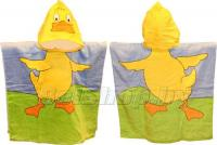"""Детское махровое полотенце-накидка пончо """"Утенок"""" голубое с капюшоном 60х60+25"""