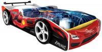 Детская кровать машина для ребенка Формула Премиум 3D красная с 2 колесами и спойлером