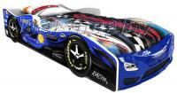 Детская кровать машина для ребенка Формула Премиум 3D синяя