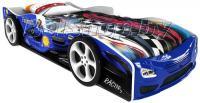 Детская кровать машина для ребенка Формула Премиум 3D синяя с 2 колесами