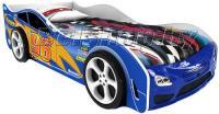 Детская кровать машина для ребенка Форсаж Престиж синий с 2 колесами