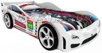 Детская кровать машина для ребенка Турбо Престиж белый с 2 колесами