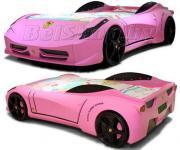 Детская кровать машина для ребенка F-1 розовая тачка