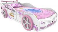 Детская кровать машина для девочки Принцесса Престиж с 2 колесами и спойлером