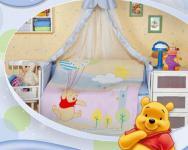 """Детское постельное белье в кроватку """"Винни пух с шарами"""" Дисней (Disney, ясли)"""